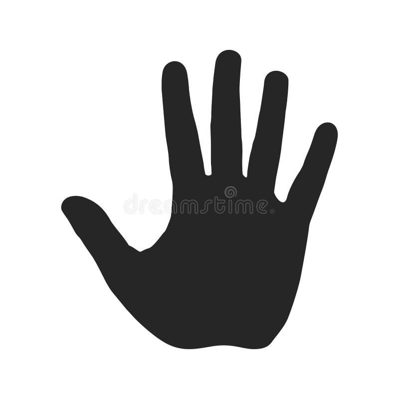 Silueta humana de la mano Abra la palma con cinco fingeres Pare la muestra Símbolo amonestador, icono peligroso ilustración del vector