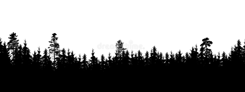 Silueta inconsútil, ancha del árbol y picos del bosque - aislados encendido stock de ilustración