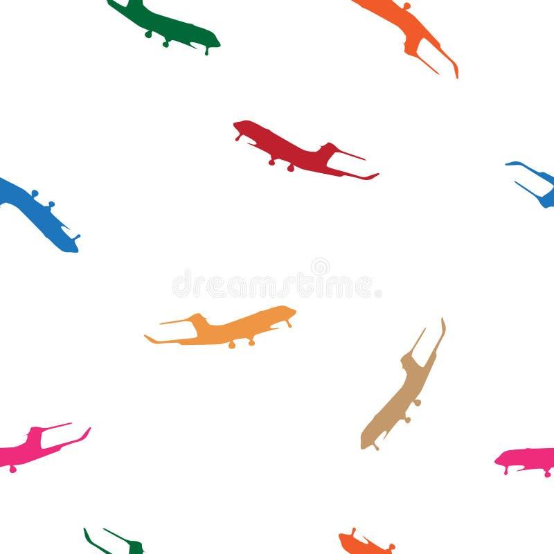 Silueta inconsútil del aeroplano de los multicolors del modelo en blanco libre illustration