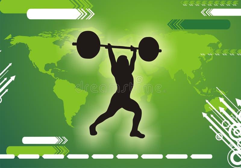Silueta internacional del Weightlifter fotografía de archivo libre de regalías