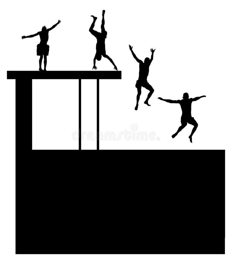 Silueta joven de los muchachos en diversa posición que salta en el agua Gente joven que se divierte en la natación ilustración del vector