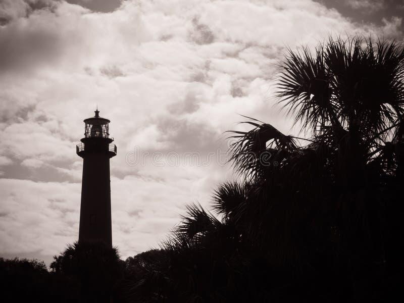 Silueta la Florida del oeste del faro imagenes de archivo