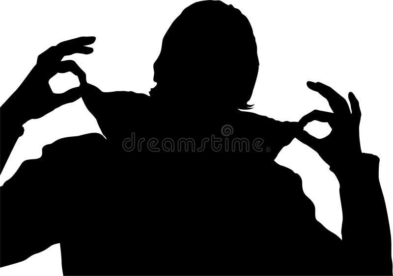 Silueta levantada hombre del collar ilustración del vector