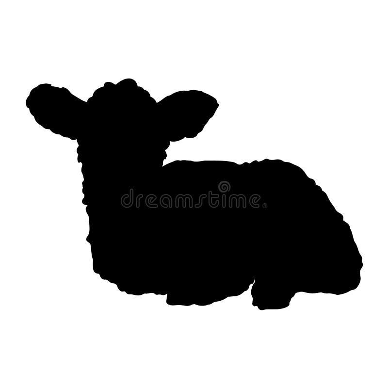 Silueta linda de las ovejas Silueta negra de la imagen aislada vector exhausto de la mano del cordero stock de ilustración