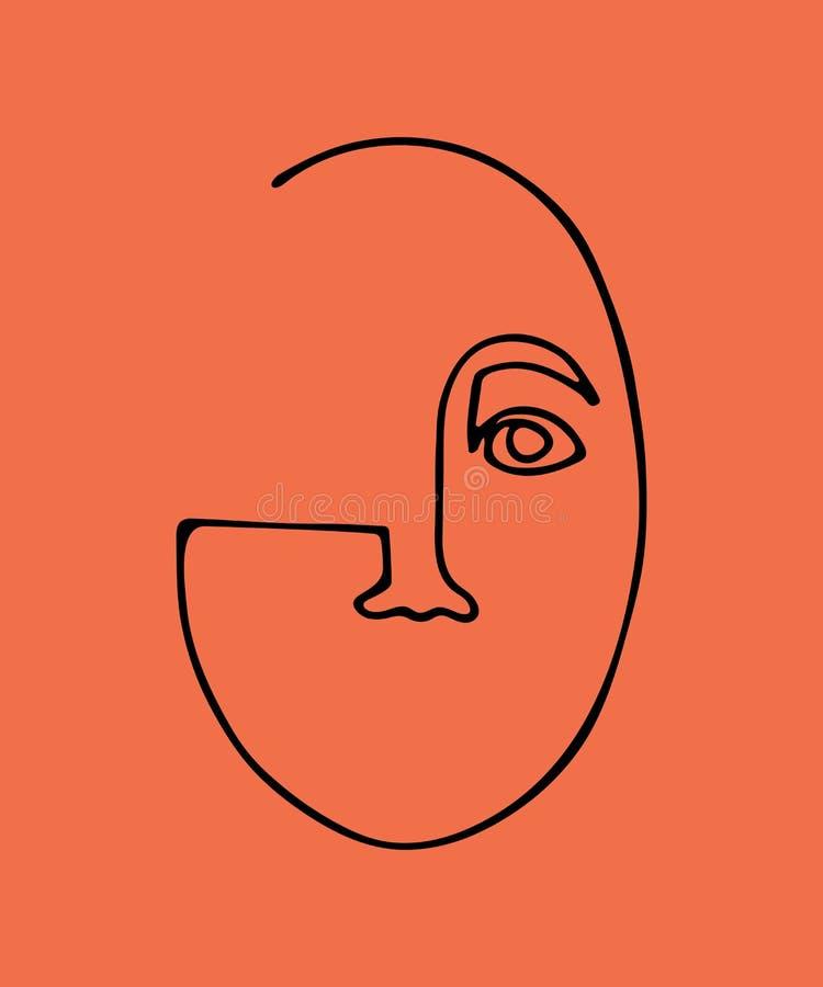 Silueta linear abstracta del rostro humano Cartel moderno de la vanguardia Silueta negra en el fondo coralino Minimalistic de mod stock de ilustración