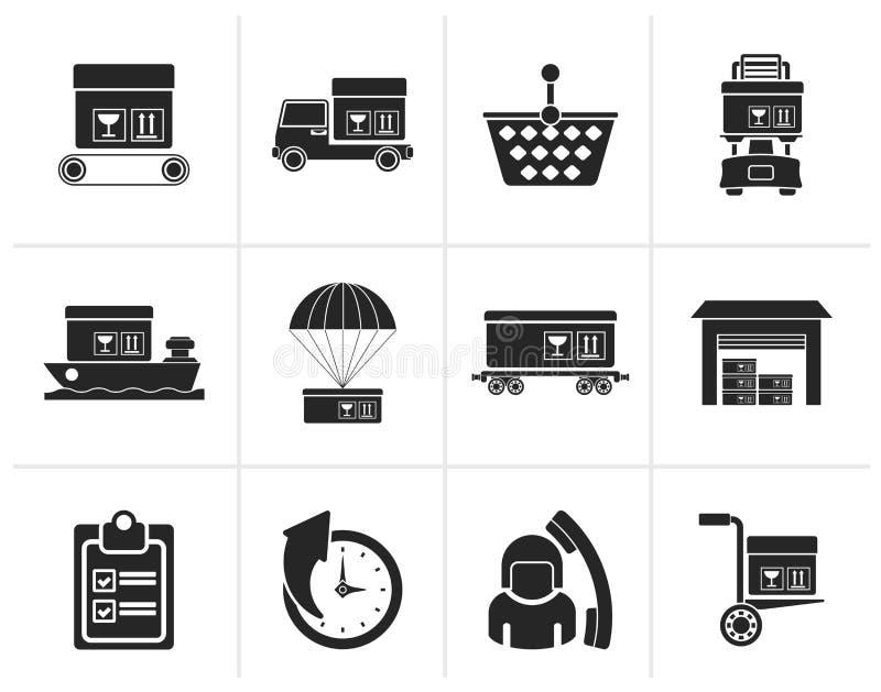 Silueta logística, cargo e iconos del envío libre illustration