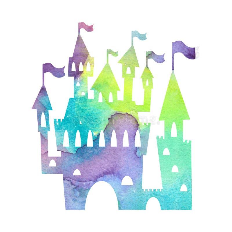 Silueta mágica del castillo con textura de la acuarela en el fondo blanco Palacio de la princesa con la torre y las banderas libre illustration