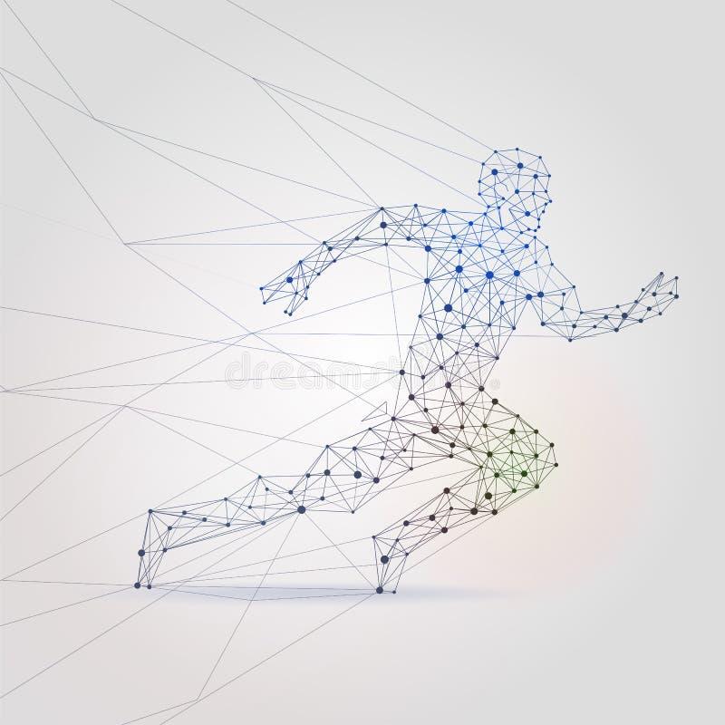 Silueta masculina corriente de la malla del polígono Ejemplo polivinílico bajo del vector del fondo del corredor abstracto del ho libre illustration