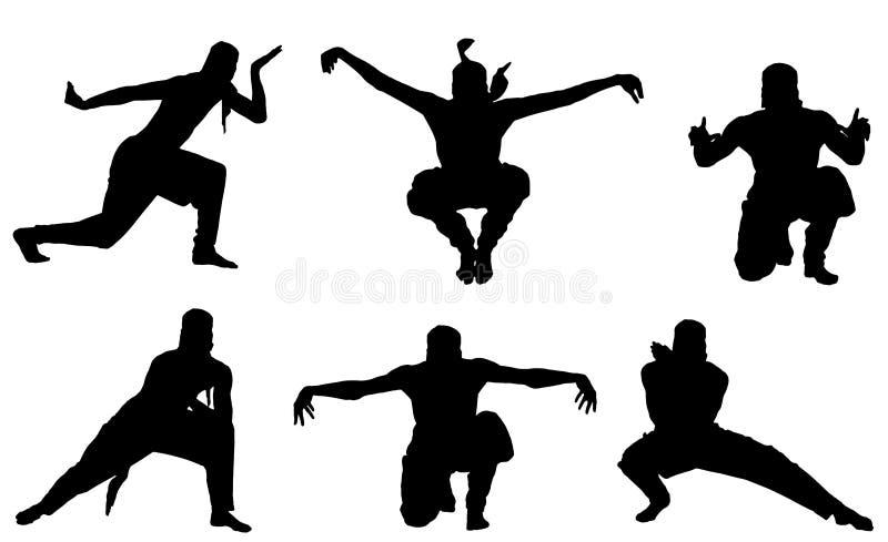Silueta masculina del ninja en el fondo blanco imagenes de archivo