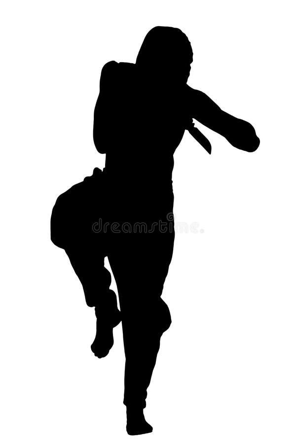 Silueta masculina del ninja en el fondo blanco fotografía de archivo