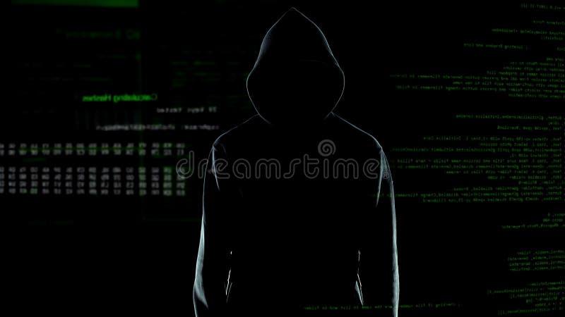 Silueta masculina del pirata inform?tico en la sudadera con capucha que se coloca delante de c?digo de ordenador animado foto de archivo