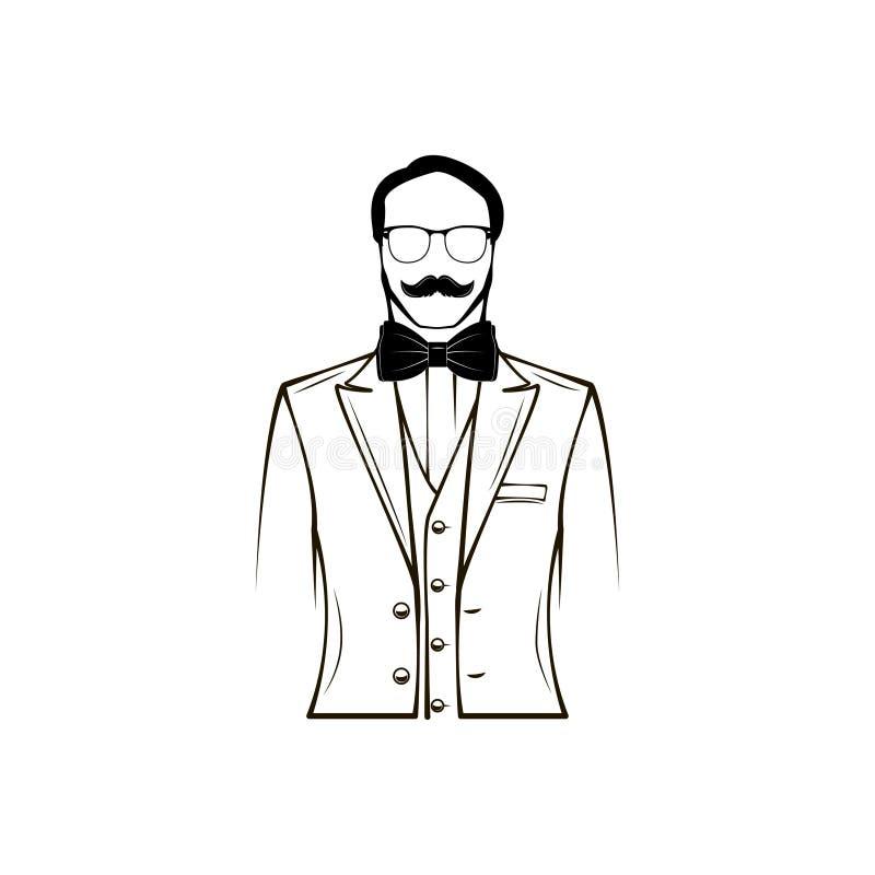 Silueta masculina prepare Día de padres, elemento del diseño de la invitación de boda Vidrios, corbata de lazo, accesorio Vector ilustración del vector