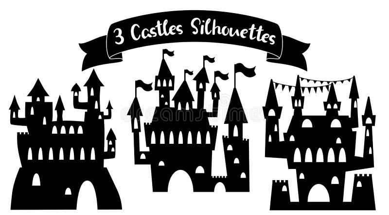 Silueta medieval del negro del castillo Ejemplo del vector del palacio del cuento de hadas en el fondo blanco Silueta del castill ilustración del vector