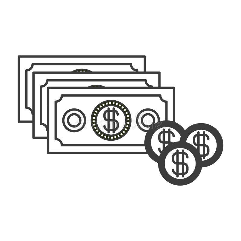 Silueta monocromática con el sistema de las cuentas y de las monedas de dinero ilustración del vector