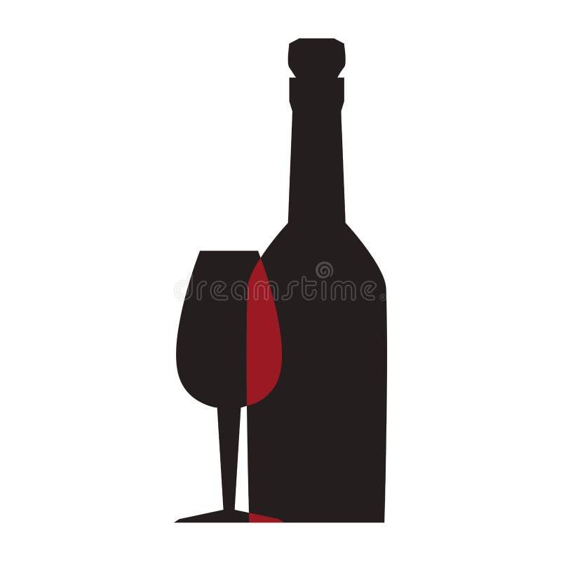 Silueta monocromática con la taza de la botella y del vidrio ilustración del vector