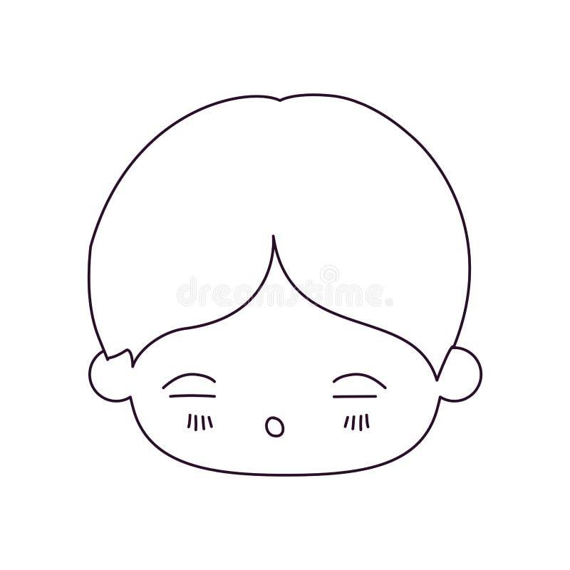 Silueta monocromática de la cabeza del kawaii del niño pequeño con la expresión facial de cansado stock de ilustración