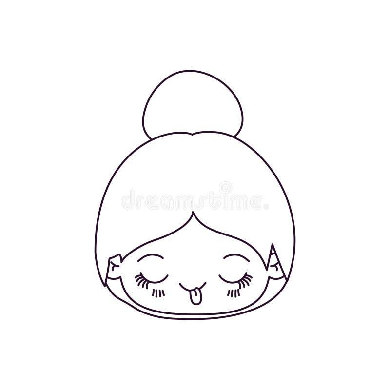 Silueta monocromática de la niña linda de la cabeza del kawaii con el pelo recogido y la expresión facial divertida libre illustration