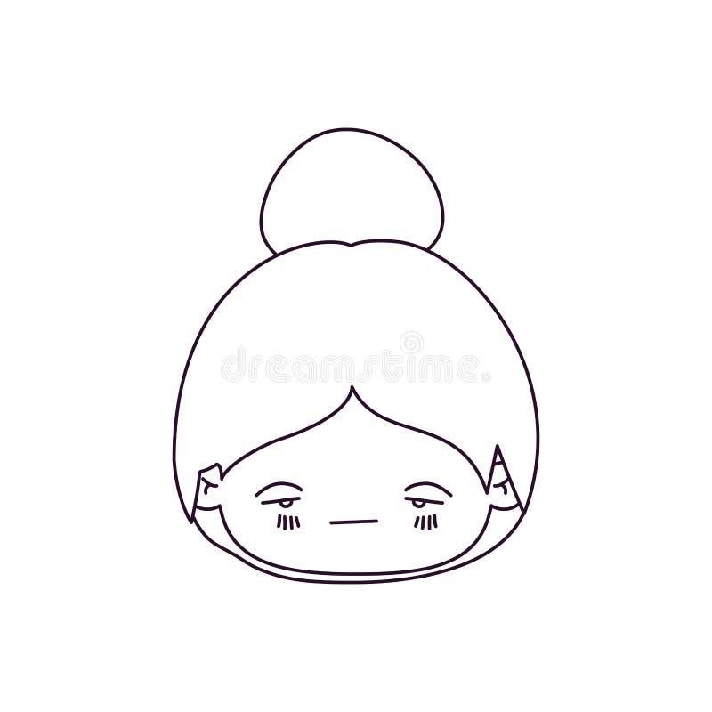 Silueta monocromática de la niña principal del kawaii con el pelo recogido y la expresión facial tristes libre illustration