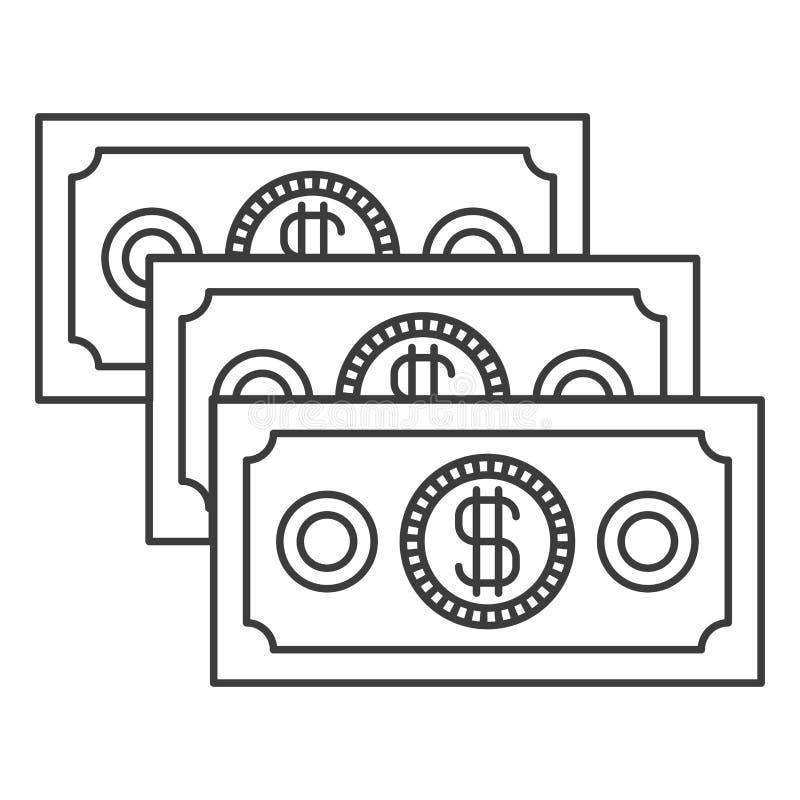 Silueta monocromática de las cuentas de dinero fijadas stock de ilustración