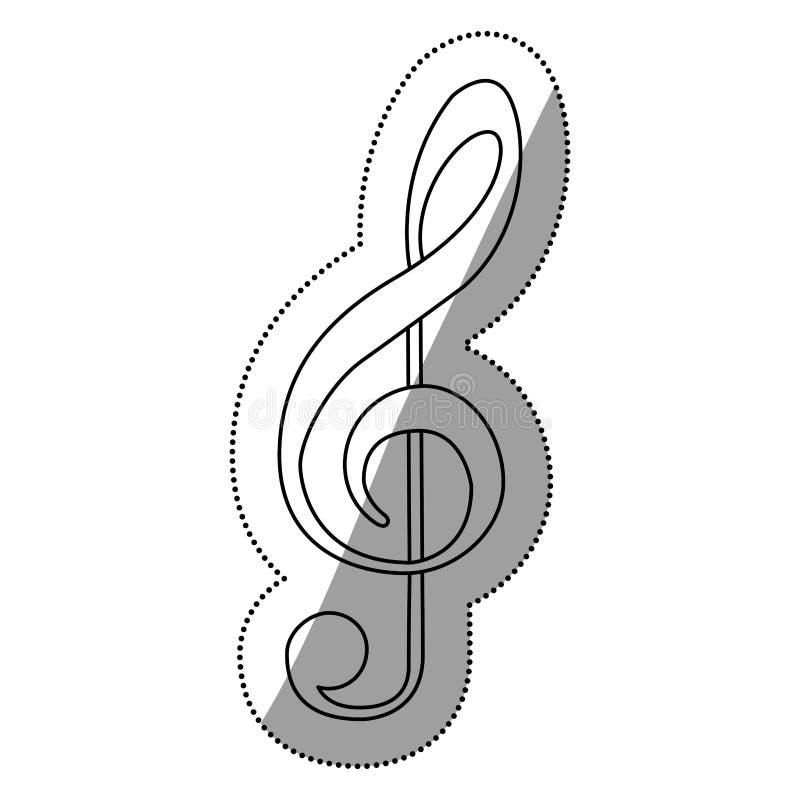 silueta monocromática del contorno con la clave de sol de la música de la muestra stock de ilustración