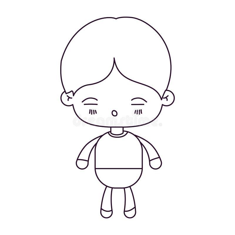 Silueta monocromática del niño pequeño del kawaii con la expresión facial de cansado ilustración del vector