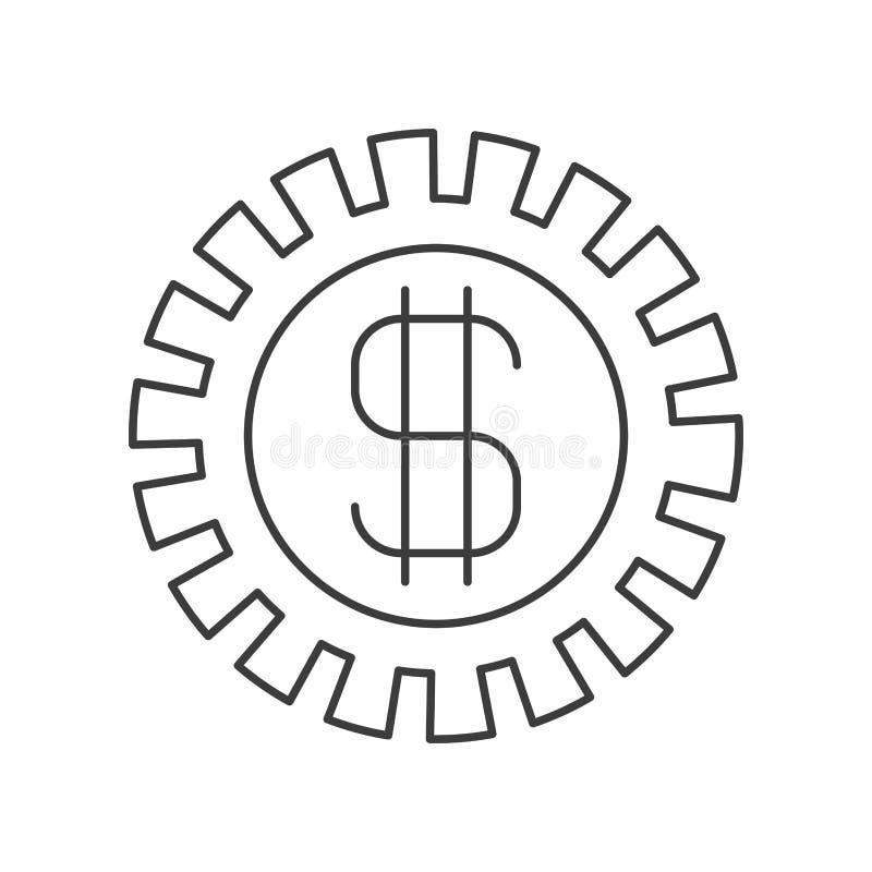 Silueta monocromática del piñón con símbolo del dinero stock de ilustración