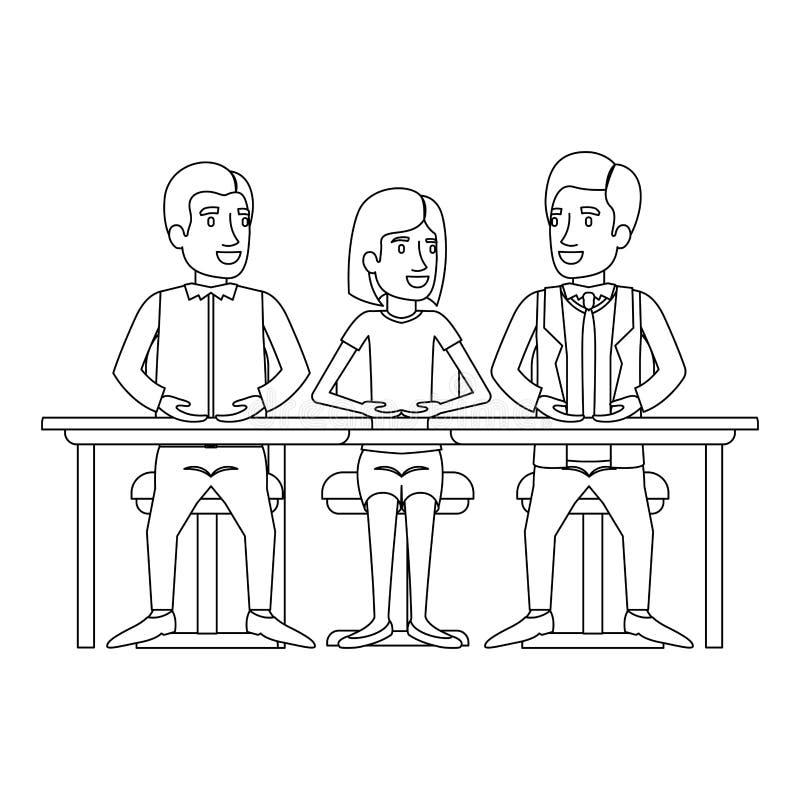 Silueta monocromática del trabajo en equipo de la mujer y de los hombres que se sientan en escritorio ilustración del vector