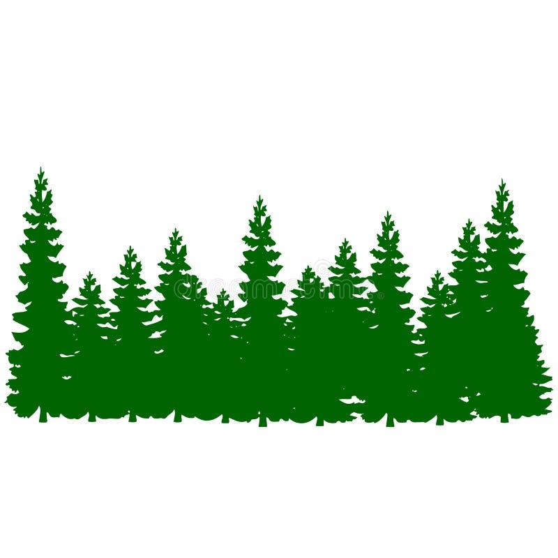 Silueta, mucho árbol de navidad verde, historieta en vagos blancos stock de ilustración