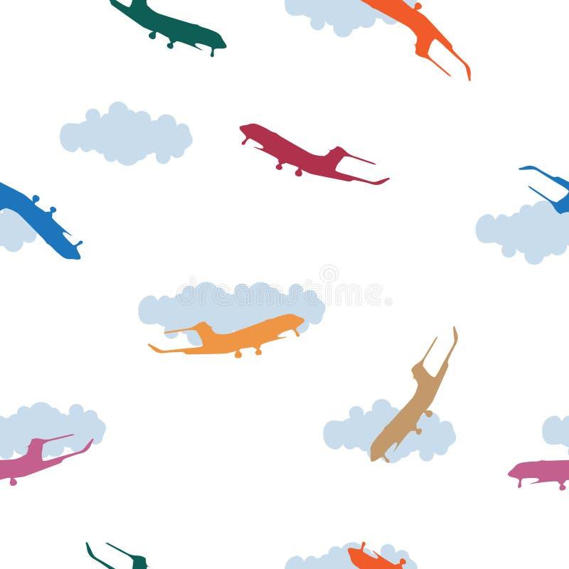 Silueta multicolora del aeroplano del modelo inconsútil, nube en blanco stock de ilustración