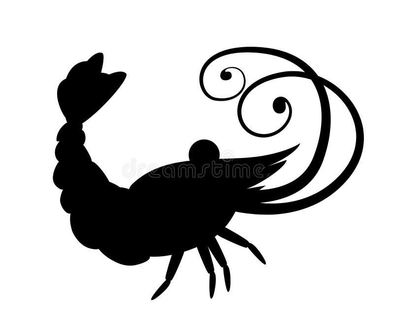 Silueta negra Camar?n lindo Dise?o de car?cter animal de la historieta Crust?ceos que nadan Ejemplo plano aislado en blanco stock de ilustración