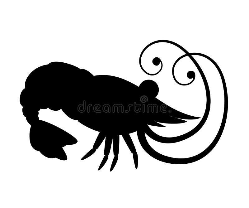 Silueta negra Camar?n lindo Dise?o de car?cter animal de la historieta Crust?ceos que nadan Ejemplo plano aislado en blanco libre illustration