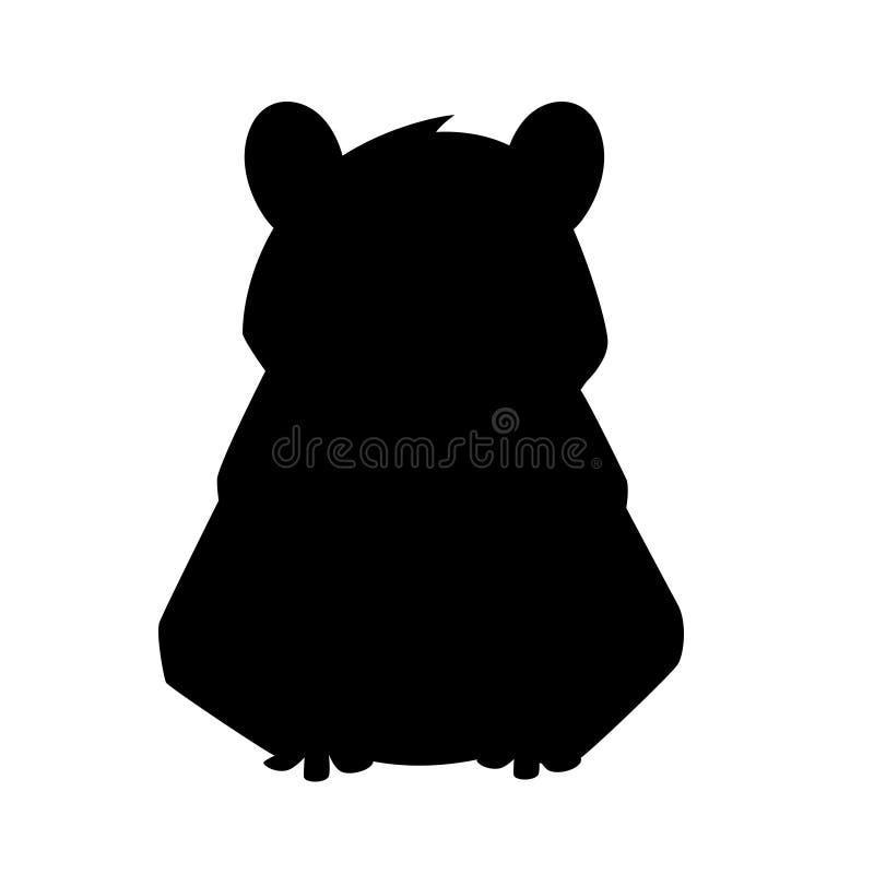 Silueta negra Castor lindo de Brown Dise?o animal de la historieta Ejemplo plano aislado en el fondo blanco Bosque ilustración del vector