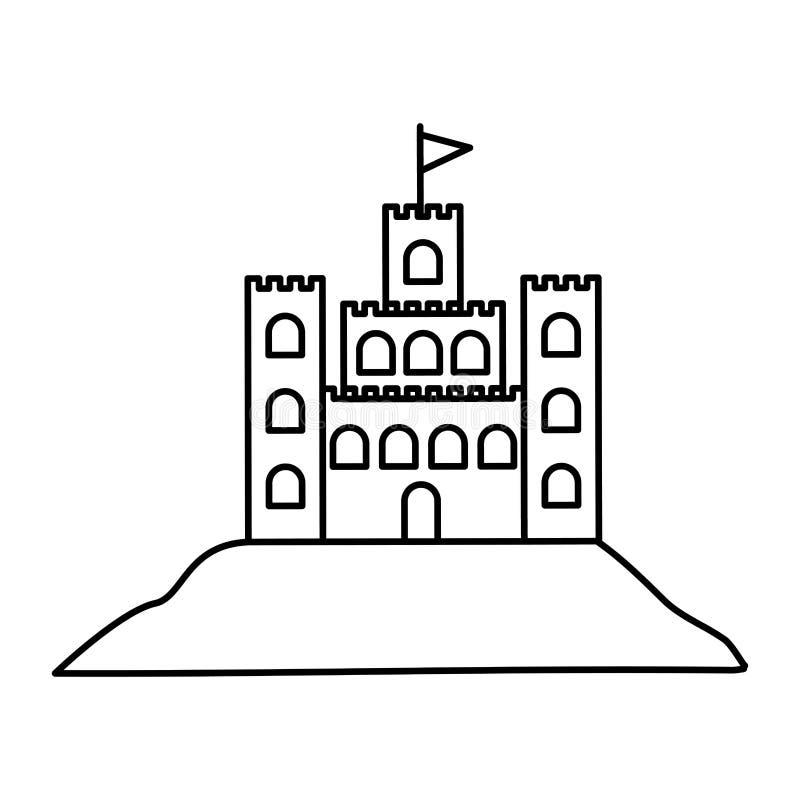 Silueta negra con el castillo de la arena libre illustration