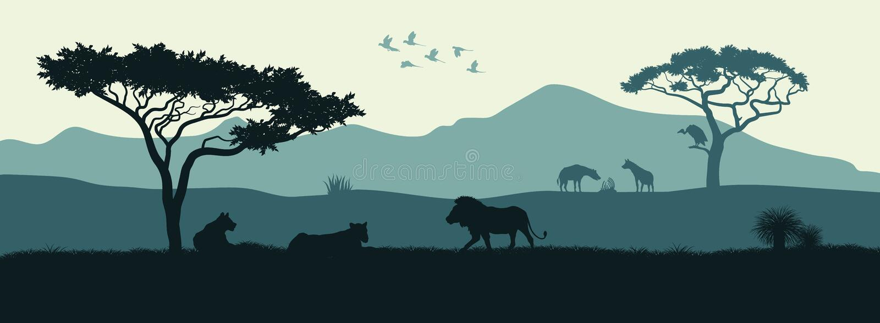 Silueta negra de animales de la sabana africana libre illustration