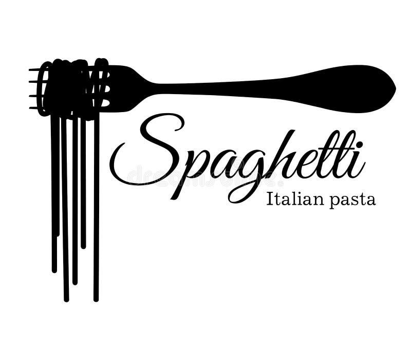 Silueta negra de espaguetis en una bifurcación con un ejemplo de la inscripción aislado en la página y la multitud blancas del si stock de ilustración