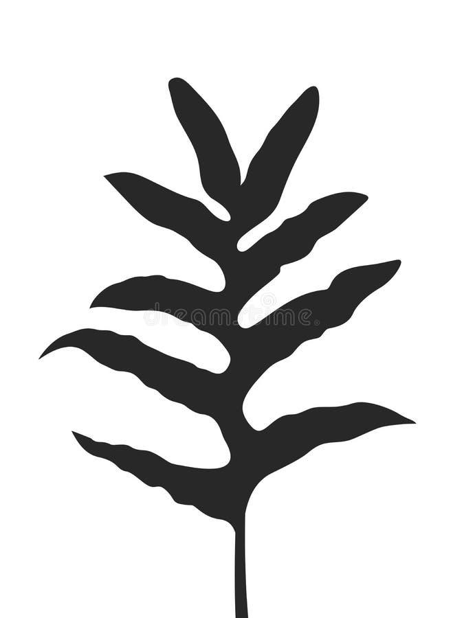 Silueta negra de Fern Leaf, hojas tropicales de la selva, ejemplo del vector, aislado en el fondo blanco libre illustration