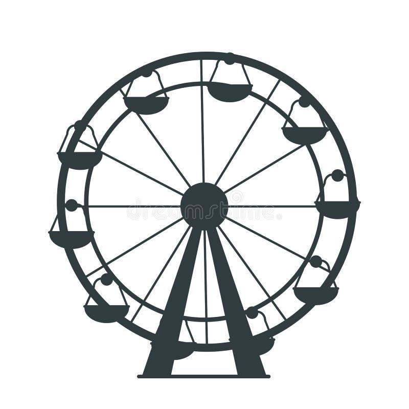 Silueta negra de Ferris Wheel con las porciones de taxis libre illustration