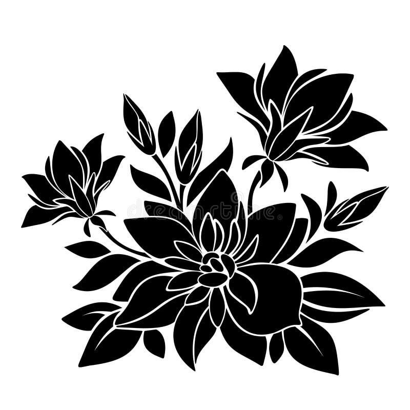 Silueta negra de flores Ilustración del vector stock de ilustración