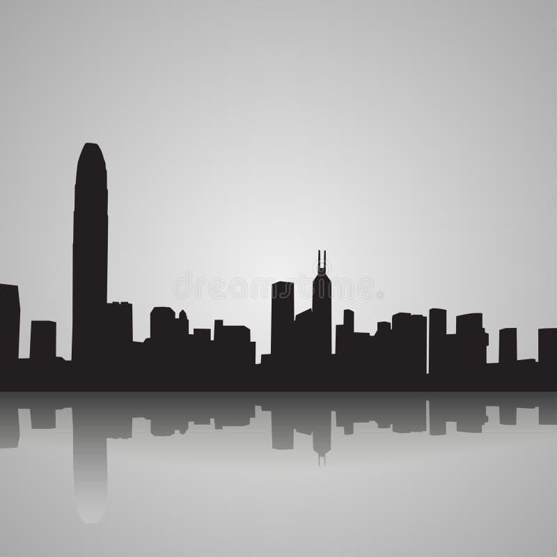 Silueta negra de Hong Kong con la reflexión Ilustración del vector ilustración del vector
