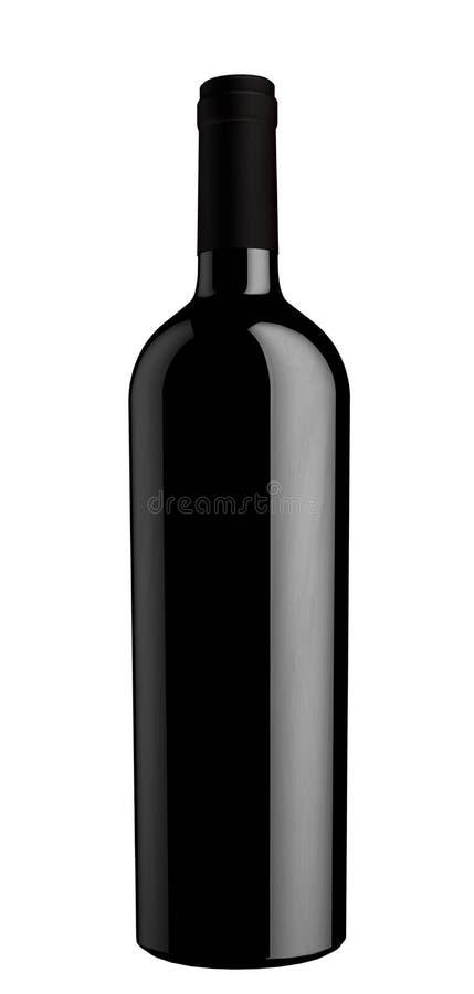 Silueta negra de la botella de vino fotos de archivo