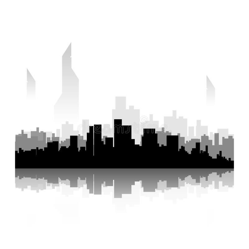Silueta negra de la ciudad stock de ilustración
