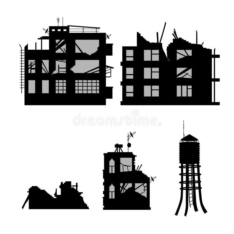 Silueta negra de la ciudad quebrada Paisaje industrial Conflicto de la guerra Ruinas de la casa después del terremoto Vieja escen stock de ilustración