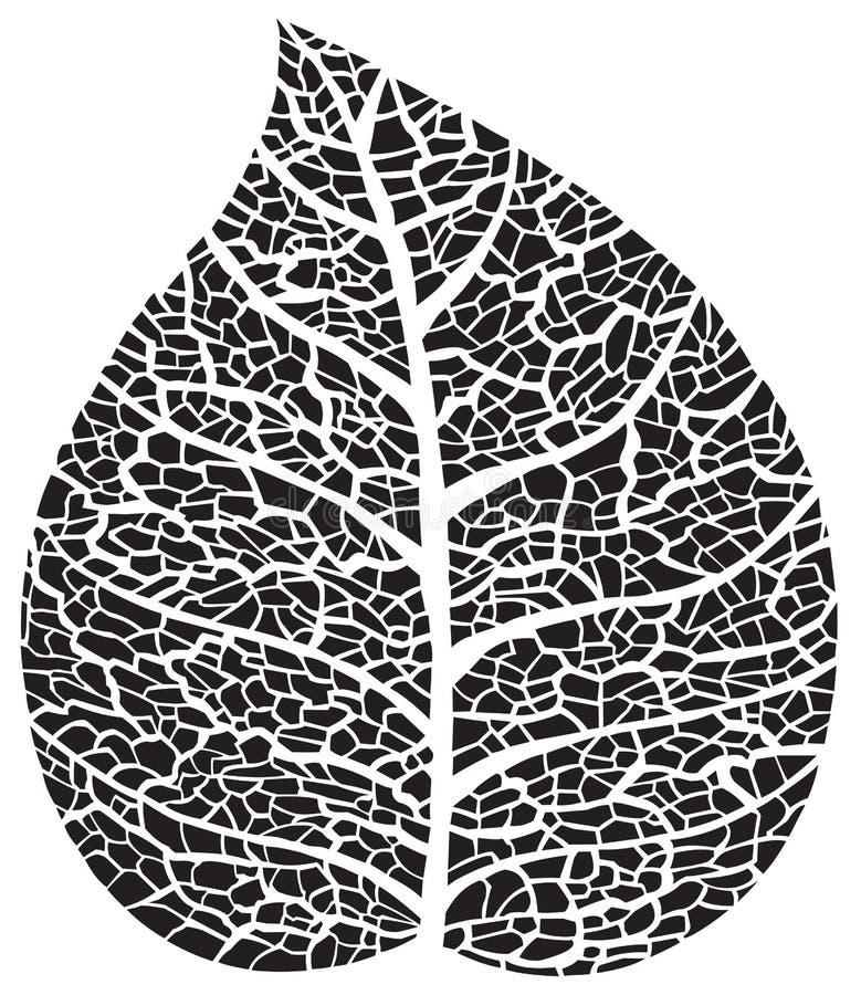 Silueta negra del esqueleto de la hoja libre illustration