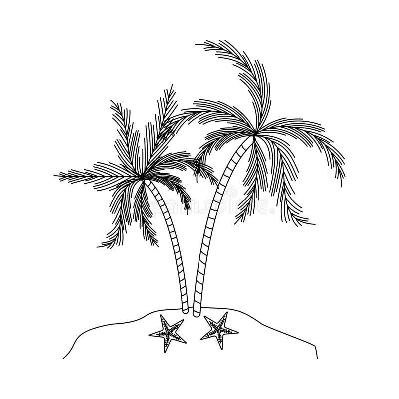 Silueta negra de la isla con las palmeras y las estrellas de mar ilustración del vector