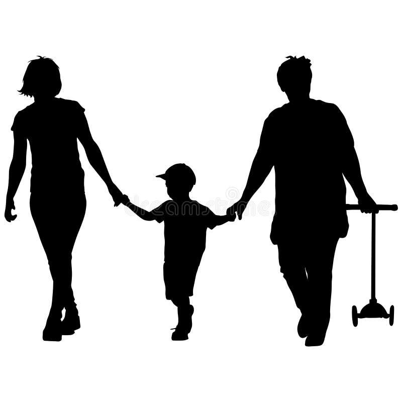 Silueta negra de la madre, de la abuela y del nieto caminando con la vespa en las manos Ilustración del vector stock de ilustración