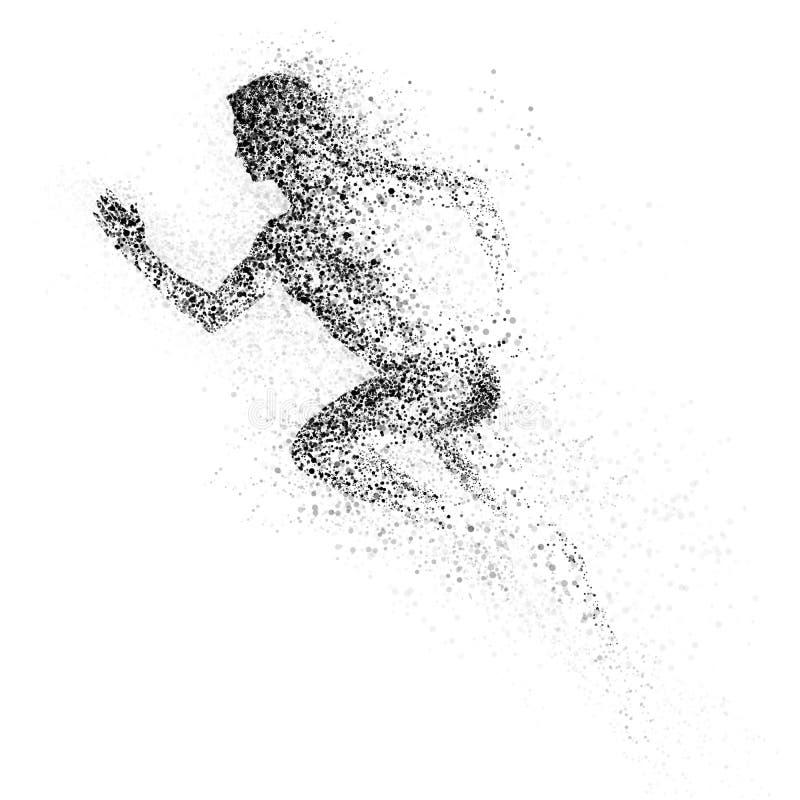 Silueta negra de la mujer de funcionamiento de la partícula divergente stock de ilustración