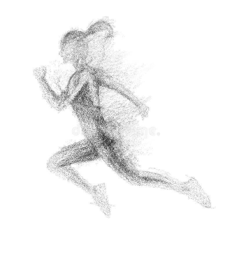 Silueta negra de la mujer de funcionamiento de la partícula divergente ilustración del vector