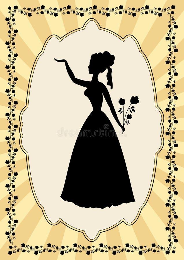 Silueta negra de la señora en marco del vintage con adorno de la flor en estilo del art déco libre illustration