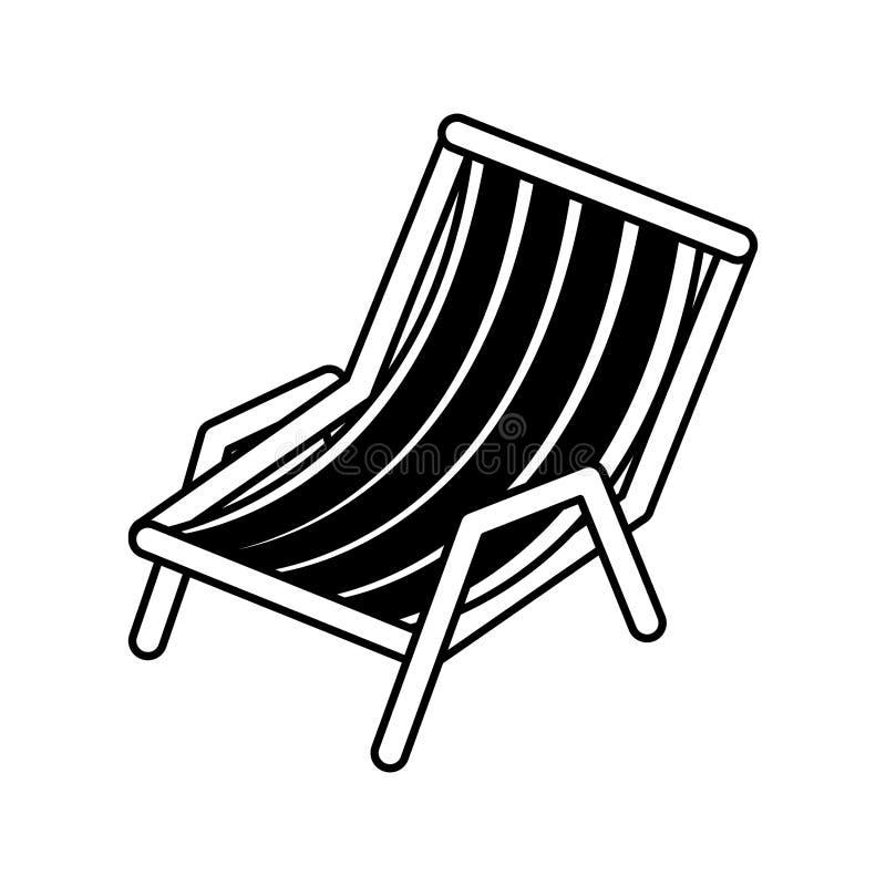 Silueta negra de la silla de playa ilustración del vector
