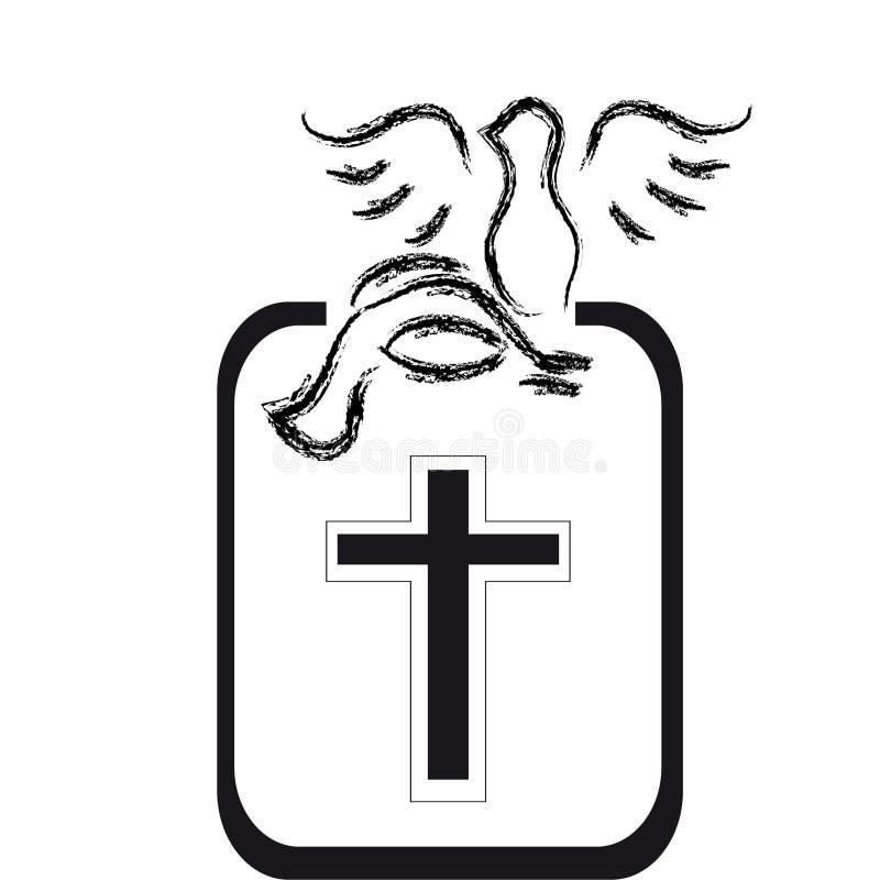 Silueta negra de las palomas con la cruz en el fondo blanco libre illustration